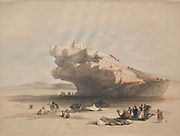 Approach to Petra, an Ancient Watch Tower Commanding the Valley of El Chor Color lithograph by David Roberts (1796-1864). An engraving reprint by Louis Haghe was published in a the book 'The Holy Land, Syria, Idumea, Arabia, Egypt and Nubia. in 1855 by D. Appleton & Co., 346 & 348 Broadway in New York.