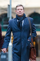 © Licensed to London News Pictures. 07/01/2019. London, UK.  Craig Mackinlay arrives at Southwark Crown Court this morning, where the jury are continuing their deliberations following a trial where Cackinlay stood accused of submitting false election expenses.  Photo credit: Vickie Flores/LNP