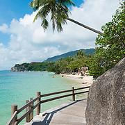 Boardwalk near lighthouse on Leela beach, Phangan island, Thailand