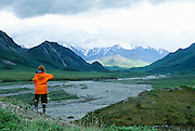 Alaska. Arctic National Wildlife Refuge ANWR . Wilderness photographer near the Hulahula River.