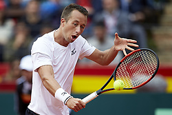 April 6, 2018 - Valencia, Valencia, Spain - Philipp Kohlschreiber of Germany in action in his match against Rafael Nadal of Spain during day one of the Davis Cup World Group Quarter Finals match between Spain and Germany at Plaza de Toros de Valencia on April 6, 2018 in Valencia, Spain  (Credit Image: © David Aliaga/NurPhoto via ZUMA Press)