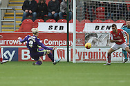 Simon Makienok of Charlton Athletic  scores goal to go 1-0 up during the Sky Bet Championship match between Rotherham United and Charlton Athletic at the New York Stadium, Rotherham, England on 30 January 2016. Photo by Ian Lyall.