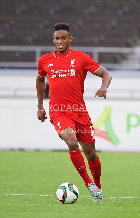 HELSINKI, FINLAND - Friday, July 31, 2015: Liverpool's Joe Gomez in action against HJK Helsinki during a friendly match at the Olympic Stadium. (Pic by David Rawcliffe/Propaganda)