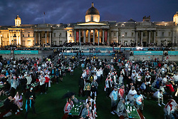 © Licensed to London News Pictures. 11/07/2021. London, UK. England supporters watch to the EURO 2020 final between Italy and England on giant screens in the Trafalgar Square fan zone in central London. Photo credit: Peter Macdiarmid/LNP