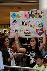 """© Licensed to London News Pictures. 15/09/2011.Lakeside,Essex, UK.One Direction at Lakeside,Essex to sign copies of their new book """"Dare to Dream"""".  Liam, Harry, Zayn, Louis and Niall showed off the new book at   Lakeside's Central Atrium today (15.09.2011).Fans.Photo credit : Grant Falvey/LNP"""