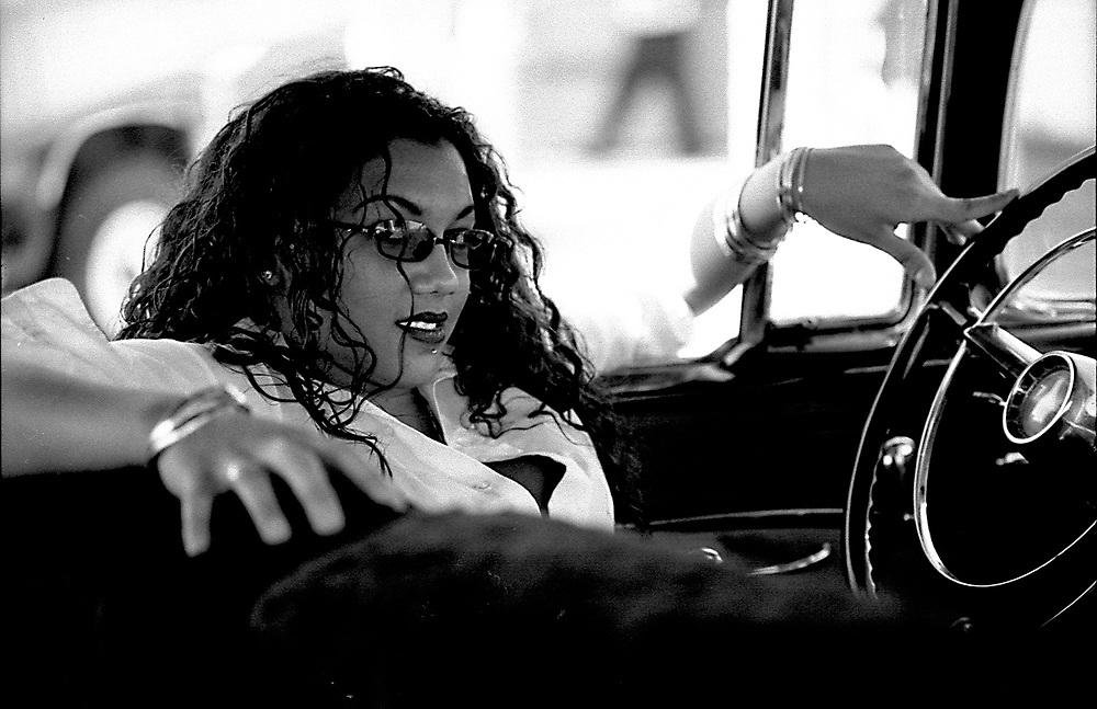 Woman in car .