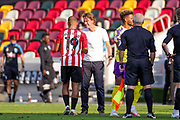 Brentford Head Coach Thomas Frank congratulates Brentford forward Bryan Mbeumo (19) at full time during the EFL Sky Bet Championship match between Brentford and Huddersfield Town at Brentford Community Stadium, Brentford, England on 19 September 2020.