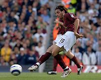 Photo: Henry Browne.<br /> Arsenal v Newcastle Utd. Barclaycard Premiership.<br /> 14/08/2005.<br /> Francesc Fabregas of Arsenal passes the ball.