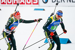 Franziska Hildebrand (GER) and Erik Lesser (GER) during Single Mixed Relay at day 1 of IBU Biathlon World Cup 2018/19 Pokljuka, on December 2, 2018 in Rudno polje, Pokljuka, Pokljuka, Slovenia. Photo by Ziga Zupan / Sportida