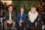 JOACHIM GRAM, OLLIVER MOULD, LORNA MAY WADSWORTH (L-R) at the preview of LAPADA Art and Antiques Fair. Berkeley Sq. London. 23 September 2014.