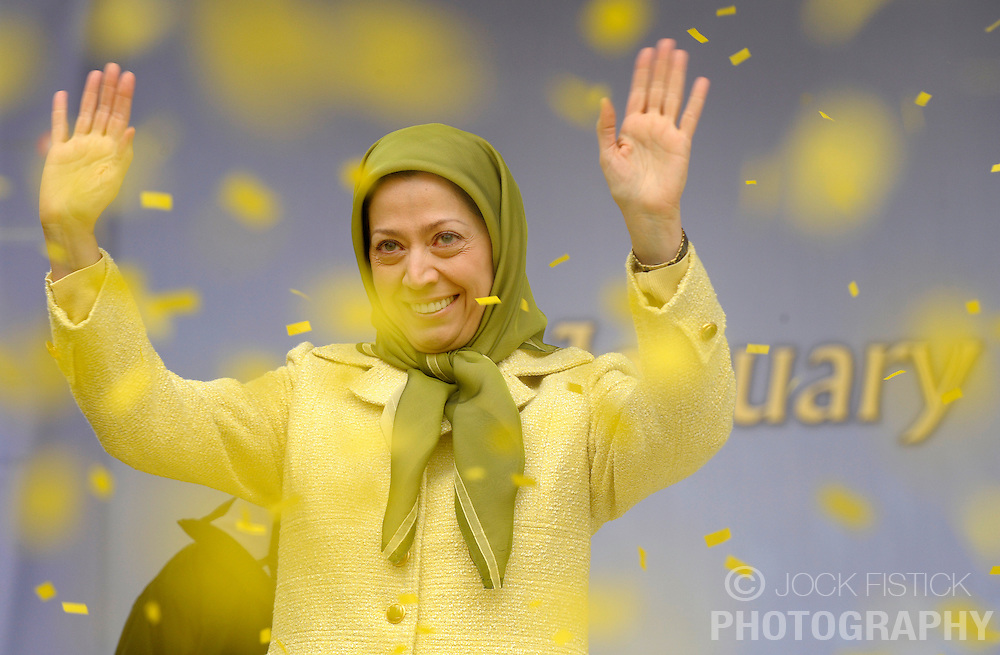 Maryam Rajavi, president of the National Council of Resistance of Iran, waves to thousands of Iranians from all over Europe who gathered in front of the European Commission to show support for the Iranian resistance movement and to celebrate the removal of the PMOI (People's Mujahideen Organization of Iran) from the EU's  list of terrorist organization, in Brussels, Belgium, Tuesday, Jan. 27, 2009. (Photo / Jock Fistick)