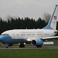 United States Secretary of State Hillary Clinton's plane during a stopoff at Shannon Airport on Sunday.<br /> <br /> Photograph by Eamon Ward