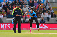 Wayne Parnell of Worcestershire bowling during the Vitality T20 Finals Day Semi Final 2018 match between Worcestershire Rapids and Lancashire Lightning at Edgbaston, Birmingham, United Kingdom on 15 September 2018.