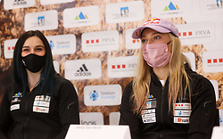 Mia Krampl, Janja Garnbret at press conference of Slovenian National Climbing team before new season, on March 23, 2021 in Bolder Scena, Ljubljana, Slovenia. Photo by Vid Ponikvar / Sportida