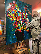 """Finishing touches for 'Faces,' an extra large 48"""" x 60"""" Contemporary Painting for a show in April, 2020."""