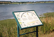 Information notice board for the River Stour estuary at Mistley Walls, Mistley, Essex, England