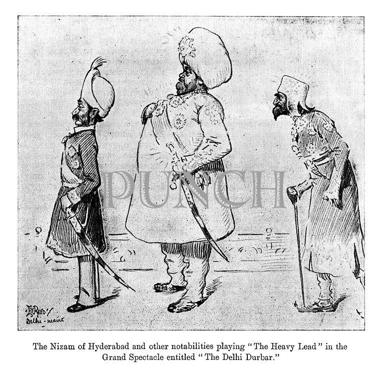 """The Nizam of Hyderabad and other nobilities playing """"The Heavy Lead"""" in the grand spectacle entitled """"The Delhi Durbar."""" (an Edwardian cartoon shows Indian maharajahs as actors on a stage)"""