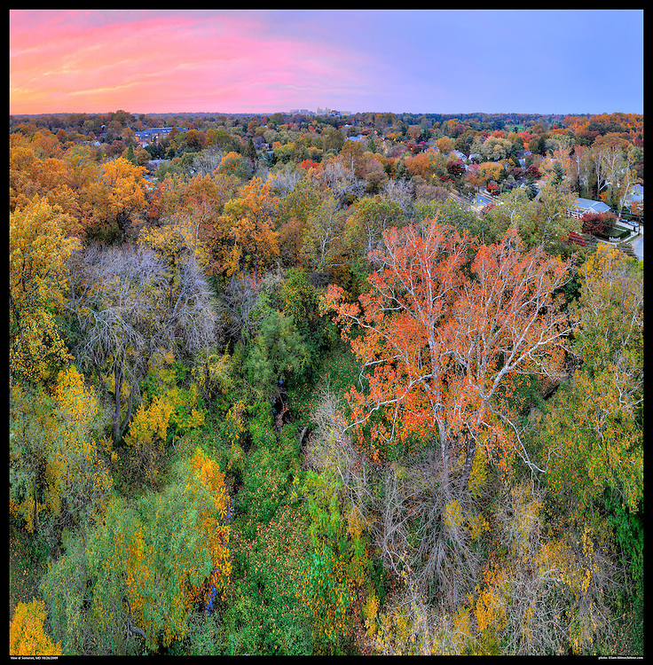 Panoramic photograph of Fall color in Chevy Chase, Maryland and Sommerset Village  with View of Bethesda, Mayland in distance.  Print Size (in inches): 15x15; 24x24; 36x36; 48x48; 60x60; 72x72.