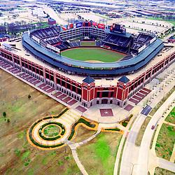 Aerial view of Texas Ranger Stadium outside Dallas Texas.