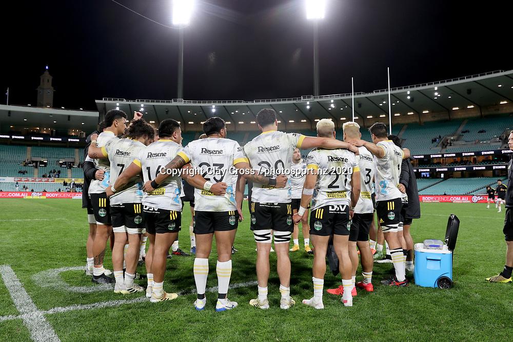 Hurricanes huddle post game. Waratahs v Hurricanes. 2021 Super Rugby Trans Tasman Round 1 Match. Played at Sydney Cricket Ground on Friday 14 May 2021. Photo Clay Cross / photosport.nz
