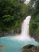 The beautiful turquoise waterfall on the Rio Celeste, Tenorio Volcano National Park, Costa Rica.