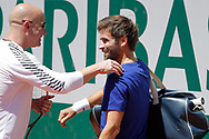 Andre Kirk Agassi (USA) new trainer of Novak Djokovic (SRB) greated Arnaud Clement at practice on court 5 during the Roland Garros French Tennis Open 2017, preview, on May 25, 2017, at the Roland Garros Stadium in Paris, France - Photo Stephane Allaman / ProSportsImages / DPPI