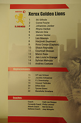 South Africa - Johannesburg, Emirates Airlines Park. 24/08/18  Currie Cup. Lions vs Griquas.<br /> The team sheet for the Lions. Picture: Karen Sandison/African News Agency(ANA)
