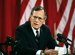 United States President George H.W. Bush makes remarks during a joint press conference with President Mikhail Gorbachev of the Union of Soviet Socialist Republics, at the conclusion of their summit in the East Room of the White House in Washington, DC on Sunday, June 3, 1990. Photo by Ron Sachs / CNP /ABACAPRESS.COM