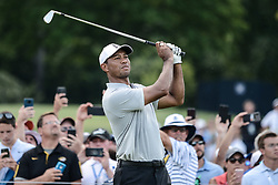 August 10, 2018 - Town And Country, Missouri, U.S - TIGER WOODS from Jupiter Florida, USA watches his tee shot on hole number three during round two of the 100th PGA Championship on Friday, August 10, 2018, held at Bellerive Country Club in Town and Country, MO (Photo credit Richard Ulreich / ZUMA Press) (Credit Image: © Richard Ulreich via ZUMA Wire)