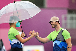 TOKYO, JAPAN - SEPTEMBER 03: Coach Brina Bozic and Dejan Fabcic of Team Slovenia celebrate winning in the Elimination Round at Men's archery Individual Recurve Open on Day 10 of the Tokyo 2020 Paralympic Games at Yumenoshima Park Archery on September 3, 2021 in Tokyo, Japan.  Photo by Vid Ponikvar / Sportida