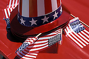 American flags and hats