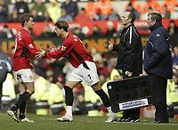 Photo. Aidan Ellis.<br />Manchester United v Tottenham Hotspur.<br />FA Barclaycard Premiership.<br />20/03/2004.<br />Ole Gunnar Solskjaer is subbed for Ronaldo