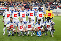 Fotball<br /> Frankrike 2004/2005<br /> Foto: Dppi/Digitalsport<br /> NORWAY ONLY<br /> <br /> 1/2 FINAL - AJ AUXERRE v NIMES OLYMPIQUE - 10/05/2005 - AUXERRE TEAM ( BACK ROW LEFT TO RIGHT : BONAVANTURE KALOU / BENOIT CHEYROU / STEPHANE GRICHTING / YOUNES KABOUL / KANGA AKALE / FABIEN COOL . FRONT ROW : JEAN SEBASTIEN JAURES / LIONEL MATHIS / JOHAN RADET / PHILIPPE VIOLEAU / BENJANI )
