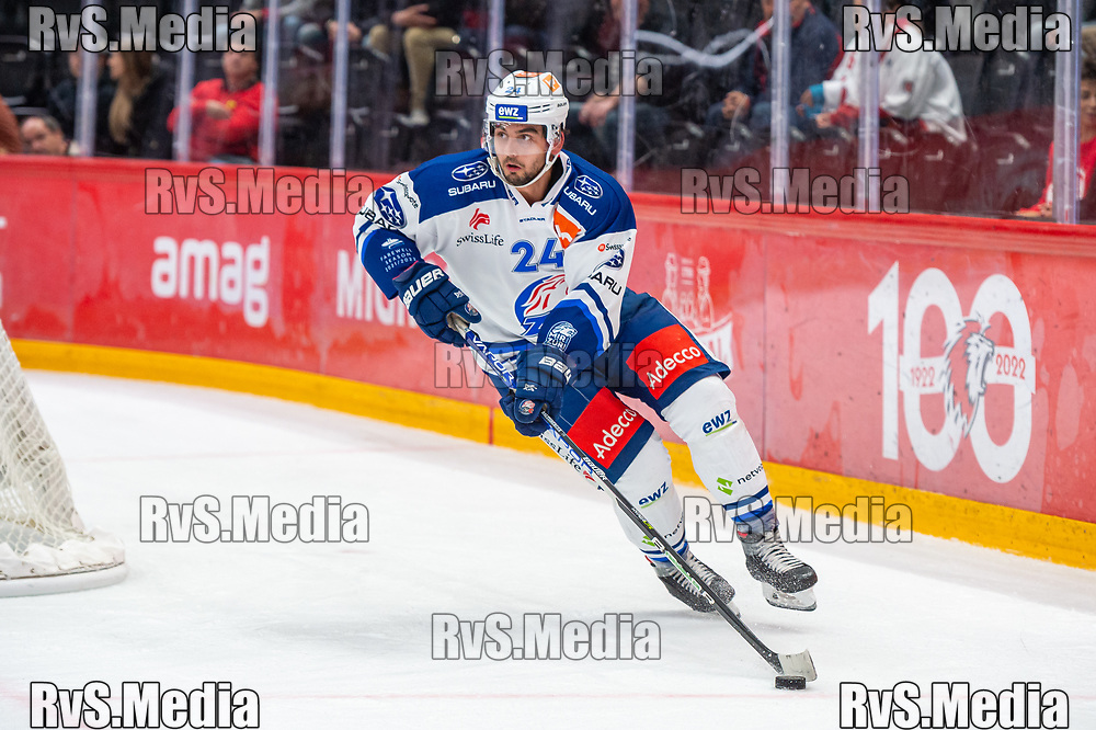 LAUSANNE, SWITZERLAND - OCTOBER 01: Phil Baltisberger #24 of ZSC Lions in action during the Swiss National League game between Lausanne HC and ZSC Lions at Vaudoise Arena on October 1, 2021 in Lausanne, Switzerland. (Photo by Monika Majer/RvS.Media)