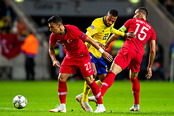 September 10, 2018 - Stockholm, SVERIGE - 180910 Kaan Ayhan and Mehmet Topal of Turkey against Isaac Kiese Thelin of Sweden during the Nations League match between Sweden and Turkey on september 10, 2018 in Stockholm  (Credit Image: © Andreas L Eriksson/Bildbyran via ZUMA Press)