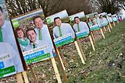 Nederland, the Netherlands, gemeente Berg en Dal, 9-3-2018 Vierkiezingsborden voor het CDA langs de zevenheuvelenweg voor de gemeenteraadsverkiezingen die 21 maart gehouden worden . Op die dag kan ook een stem uitgebracht worden voor het waarschijnlijk laatste referendum over de sleepwet, de wet op de inlichtingen en veiligheidsdiensten, zoals de AIVD . In dit dorp doen veel lokale partijen mee. Foto: Flip Franssen