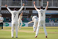 Mark Cosgrove survives and LBW appeal during the Specsavers County Champ Div 2 match between Leicestershire County Cricket Club and Lancashire County Cricket Club at the Fischer County Ground, Grace Road, Leicester, United Kingdom on 23 September 2019.