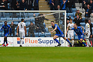 Gillingham FC midfielder Callum Reilly (13) scores a goal (1-1) and celebrates during the EFL Sky Bet League 1 match between Gillingham and Peterborough United at the MEMS Priestfield Stadium, Gillingham, England on 22 September 2018. Picture by Martin Cole
