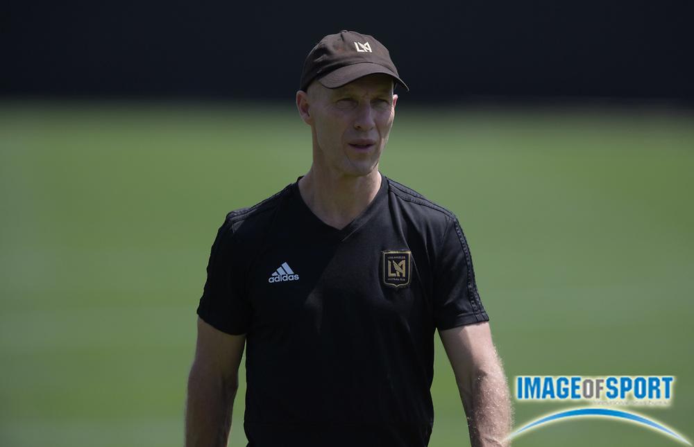 Apr 10, 2018; Los Angeles, CA, USA; LAFC coach Bob Bradley at practice at Cal State LA.