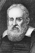Galileo Galilei (1564-1642) Italian astronomer and mathematician. Engraving after portrait by Sustermans.