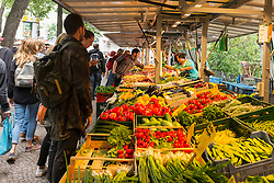 Vegetable stall at Boxhagener Platz Farmers' Market at  the weekend in Friedrichshain Berlin Germany