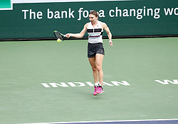 March 10, 2019 - Indian Wells, CA, U.S. - INDIAN WELLS, CA - MARCH 10: Simona Halep (ROU) hits a forehand during the third round of the BNP Paribas Open on March 10, 2019, at the Indian Wells Tennis Gardens in Indian Wells, CA. (Photo by Adam Davis/Icon Sportswire) (Credit Image: © Adam Davis/Icon SMI via ZUMA Press)