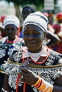 Woman wearing traditional dress, Kenya, Africa
