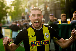Luka Gucek of Kalcer Radomlje celebrates after qualilfying to the First Slovenian league Prva liga during football match between NK Kalcer Radomlje and NK Brezice Terme Catez in 20th Round of 2. SNL 2020/21, on May 15, 2021 in Sports park Radomlje, Slovenia. Photo by Vid Ponikvar / Sportida