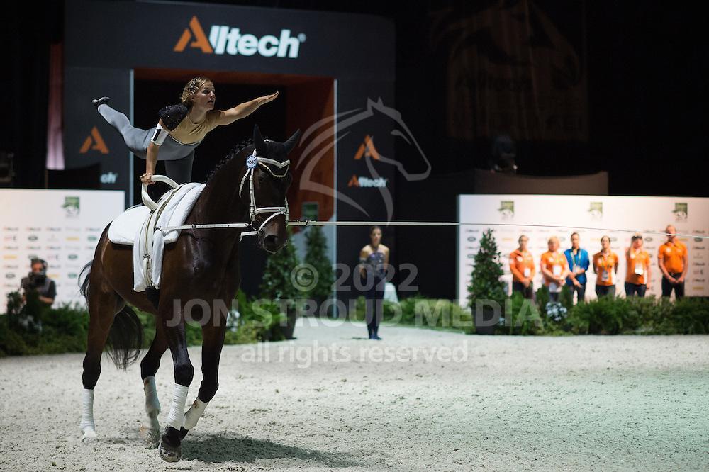 Esther Sneekes, (NED), Nolan, Marjo Sneekes - Individuals Women Compulsory Vaulting - Alltech FEI World Equestrian Games™ 2014 - Normandy, France.<br /> © Hippo Foto Team - Jon Stroud<br /> 02/09/2014