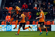 John Akinde of Barnet (L) celebrates with teammates after scoring his team's first goal. EFL Skybet Football League two match, Barnet v Lincoln City at the Hive in London on Saturday 20th January 2018. <br /> pic by Steffan Bowen, Andrew Orchard sports photography.