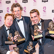 NLD/Hilversum//20170306 - uitreiking Buma Awards 2017, Buma Award TV-vormgeving, Ward Henselmans, Jeroen Kuitenbrouwer & Daan Jansen