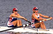Atlanta, USA. GBR W2-, Bow, Kate MACKENZIE and Philippa CROSS.  1996 Olympic Rowing Regatta Lake Lanier, Georgia [Mandatory Credit Peter Spurrier/ Intersport Images]