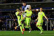 Stephen Gleeson of Birmingham City (C) in action with Kazenga LuaLua (L) and Biram Kayal of Brighton & Hove Albion challenging for the ball.<br /> Sky Bet Football League Championship match, Birmingham City v Brighton & Hove Albion at St.Andrew's Stadium in Birmingham, the Midlands on Tuesday 5th April 2016.<br /> Pic by Ian Smith, Andrew Orchard Sports Photography.