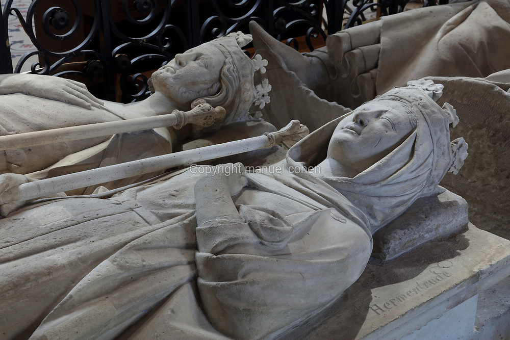 Effigies of Ermentrude, 825-69, queen of East Francia, wife of Charles II the Bald, and Carloman, 751-71, king of the Franks 768-71, son of Pepin the Short and brother of Charlemagne, in the Basilique Saint-Denis, Paris, France. Saint-Louis commissioned this tomb in 1263-64 and Carloman's body was brought here from Reims. The basilica is a large medieval 12th century Gothic abbey church and burial site of French kings from 10th - 18th centuries. Picture by Manuel Cohen